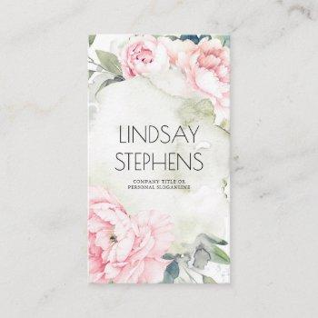 pink flowers vintage watercolors elegant neutral business card