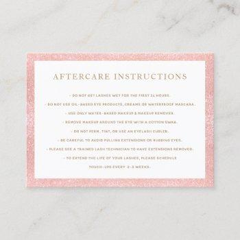 pink glitter aftercare for lash extensions salon business card