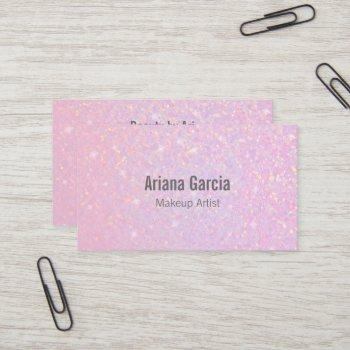 pink glitter iridescent beauty business card