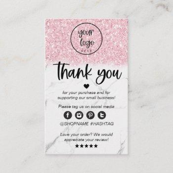 pink glitter marble business thank you for order business card