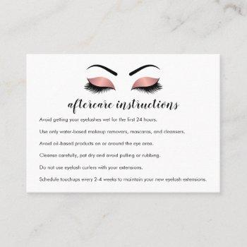 pink gold lash extension aftercare instructions business card