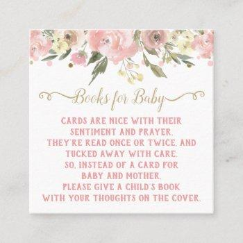 pink gold watercolor floral bring a book enclosure square business card