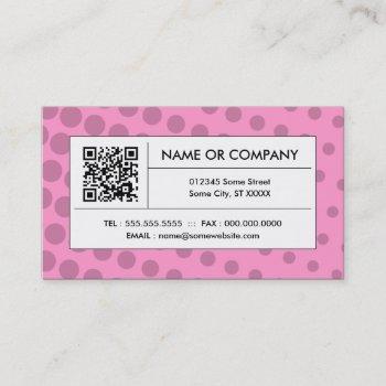 pink halftone qr code business card