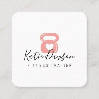 pink kettlebell & heart fitness & personal trainer square business card