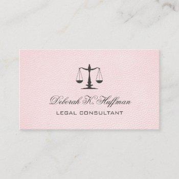 pink leather feminine legal justice scale business card
