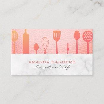 pink leather marble trim | executive chef business card