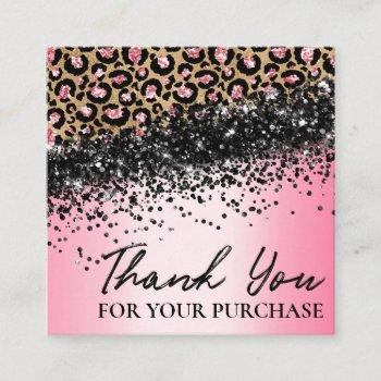 pink leopard print thank you for your order square business card
