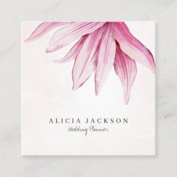 pink magnolia watercolor modern wedding planner square business card
