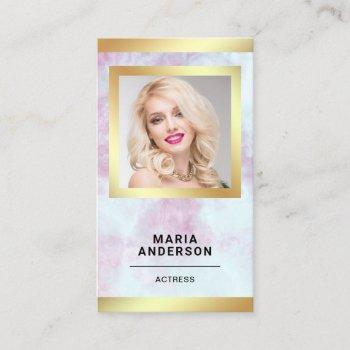 pink marble gold model actress headshot photo business card