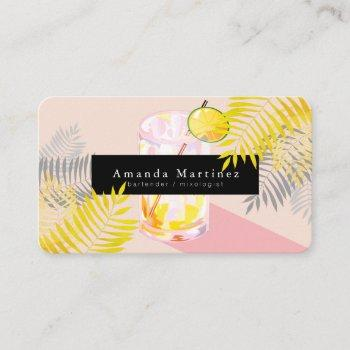 pink margarita bartender mixologist business card