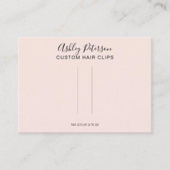 pink minimalist elegant hair clip barrette display business card
