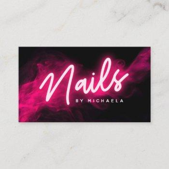 pink neon & smoke nail salon/technician business card