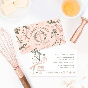 pink & olive green baking & cooking utensil bakery business card