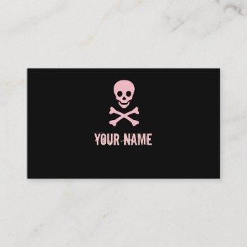 pink punk skull crossbones customizable cards
