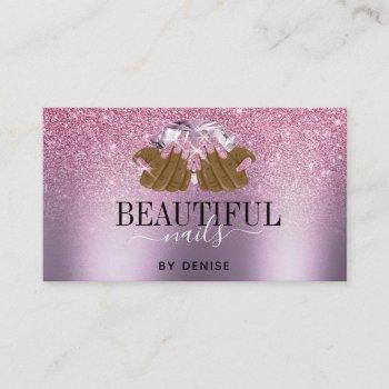 pink purple nail salon woman hand nails technician business card
