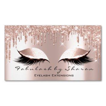pink rose glitter spark drips makeup artist lashes business card magnet