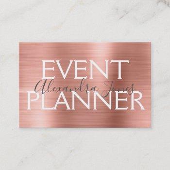 pink & rose gold brushed metal event planner business card