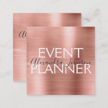 pink & rose gold brushed metal event planner square business card