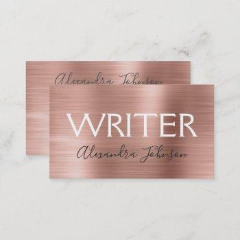 pink & rose gold foil writer or author business card