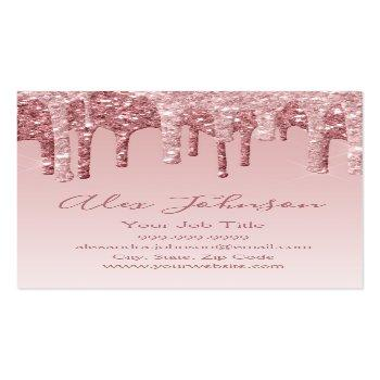 Small Pink Rose Gold Glitter Sparkle Business Card Magnet Front View