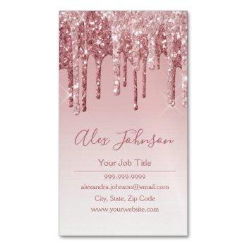 pink rose gold glitter sparkle business card magnet