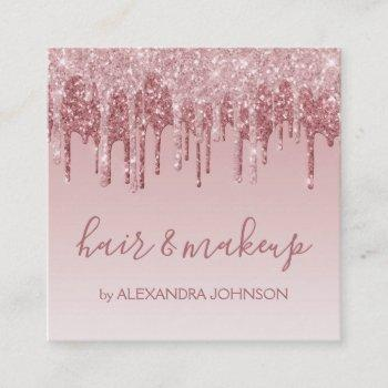 pink rose gold glitter sparkle hair makeup square business card