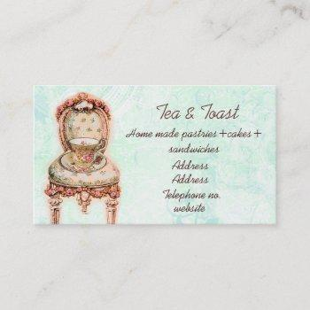 pink rose teacup and victorian chair business card