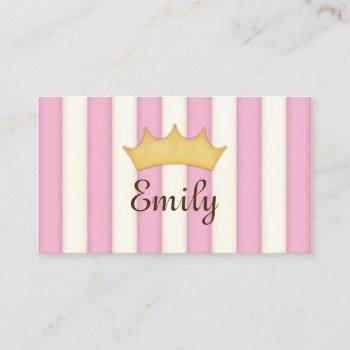 pink stripes personalized princess calling card