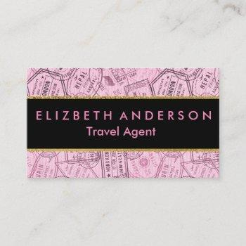 pink travel stamps travel agent business card