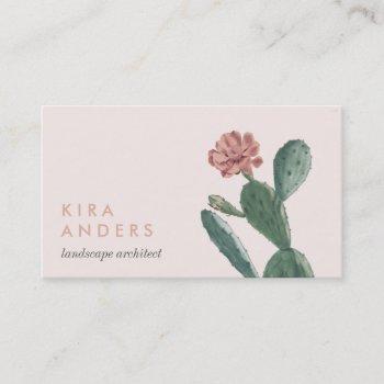pink vintage cactus business cards