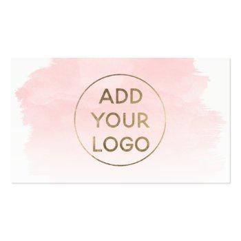 Small Pink Watercolor Brushstroke Upload Your Logo Business Card Front View