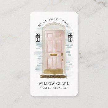 pink watercolor front door real estate agent business card