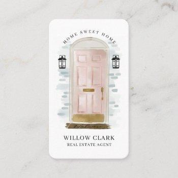 pink watercolor front door real estate agent business card