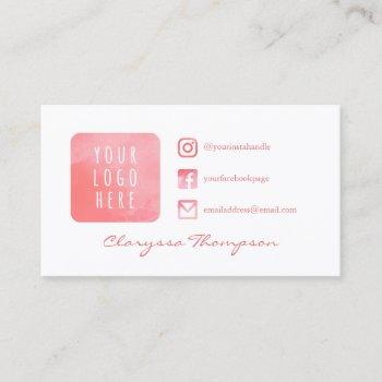 pink watercolor logo & photo social media business card