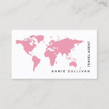 pink world map travel agent (on white option) business card