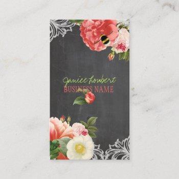 pixdezines chalkboard+vintage peonies business card