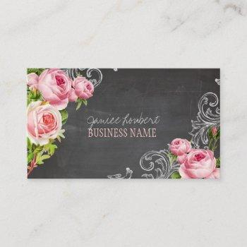 pixdezines chalkboard/vintage roses/social media business card