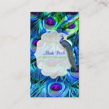 pixdezines peacock feather/ cobalt blue business card