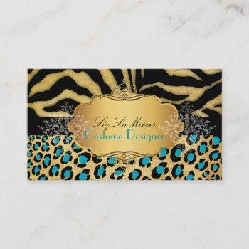 pixdezines vintage leopard+zebra+faux+gold+label business card
