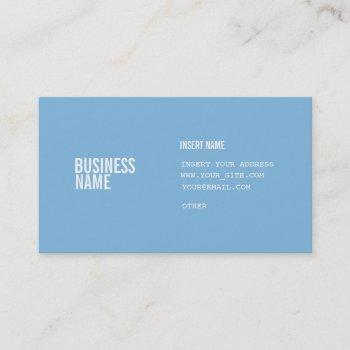 placid blue format with columns condensed fonts business card
