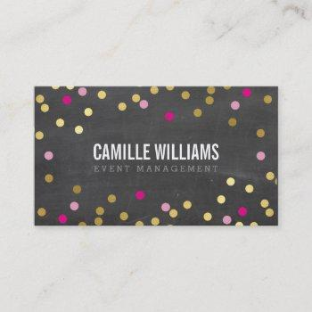plain bold minimal confetti gold pink chalkboard business card