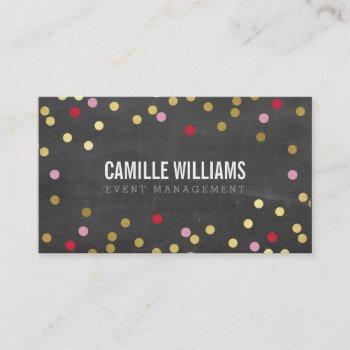plain bold minimal confetti gold red chalkboard business card