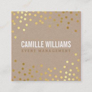 plain bold minimal smart glam confetti gold kraft square business card