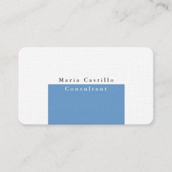 plain elegant blue grey white minimalist design business card