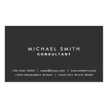 Small Plain Elegant Professional Black Modern Simple Business Card Front View