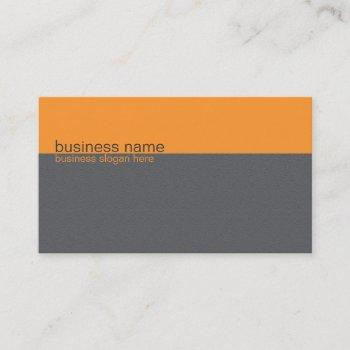 plain elegant simple orange / grey stripe business card