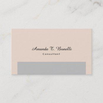 plain simple champagne pink grey minimalist design business card