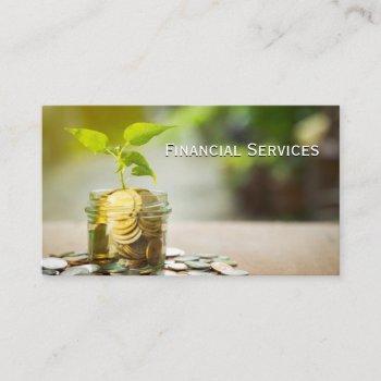 plants growing jar of change business card