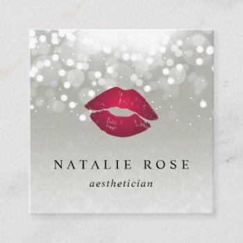 platinum glow aesthetician or makeup artist square business card