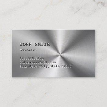 plumber cool faux stainless steel plumbing business card